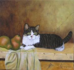 original oil painting, cat with pears, animal art, oil on canvas
