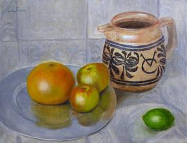 original oil painting, still life, fruit with pitcher, oil on linen