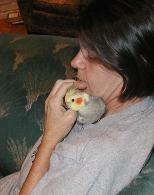 LilJean (Jeanette Powell) with her pet cockatiel Sparkle